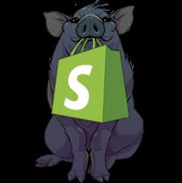 Karan the pig holding a Shopify bag